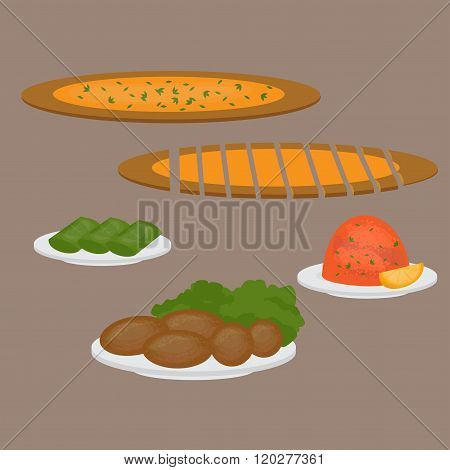 Common Main And Side Dishes, Pide, Dolma, Kisir And Kofte. Turkish Pizza, Lentil Salad, Cutlet And S