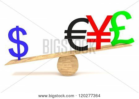 Strong Dollar: currencies on a wooden seesaw