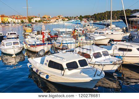 Rovinj, Croatia, 12 July 2012: Morning View On Sailboat Harbor In Rovinj With Many Moored Sail Boats