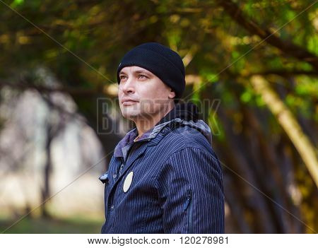 Man breathing fresh air outdoors
