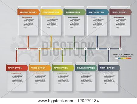 Vector illustration infographic timeline of 10 options.