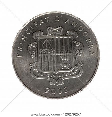 Metal Coins One Centime Andorra Isolated On White Background