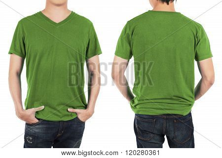 Close up of man in front and back green shirt on white background.