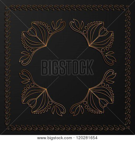 Gold monogram on a black background. Gold square frame from leaves. Linear style. The contours and outlines of flowers and leaves. The luxurious design elements. Vector illustration.