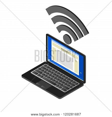 The laptop and sign Wi-Fi in isometric. A computer with access to the Internet. Free Wi Fi. A realistic image. Vector illustration. Isolated on white.