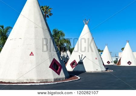 Rialto U.S.A. - May 28 2011: California,the typical American Indians huts in  the Wingwam hotel on the Route 66.