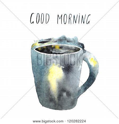Watercolor good morning card