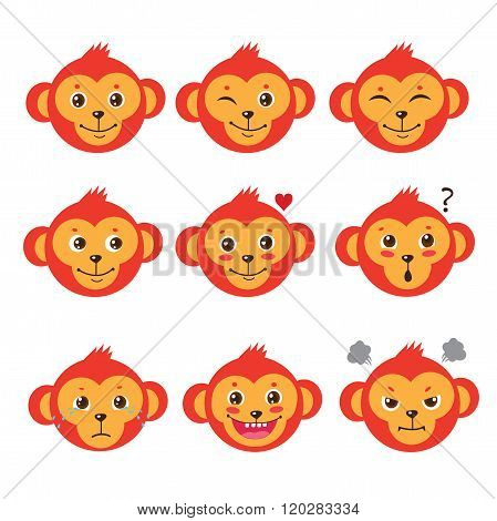 Monkey Emotion Faces. Cartoon Cute Monkeys. Vector Set. Cute Cartoon Animal Vector. Funky Monkey. Vector Animal Illustration. Cute Monkey Picture. Humor And Friendship Image. Marmoset Emotions.