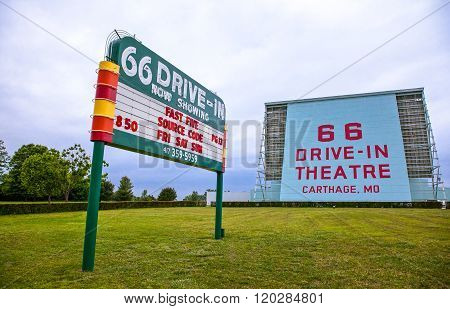 Cartage, U.S.A. May 19, 2011: Missouri, the Drive Inn signs along the Route 66.