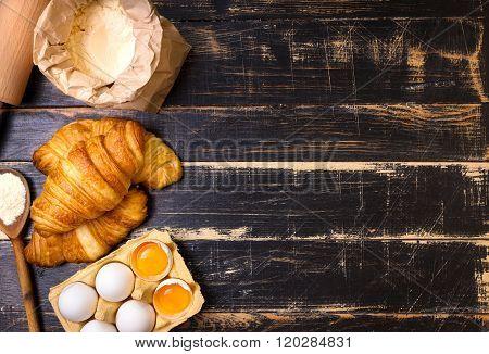 Croissants, Flour, Eggs, Spoon Background