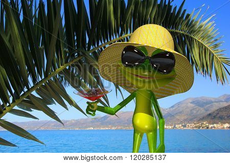 3d Illustration green frog on the beach with a glass