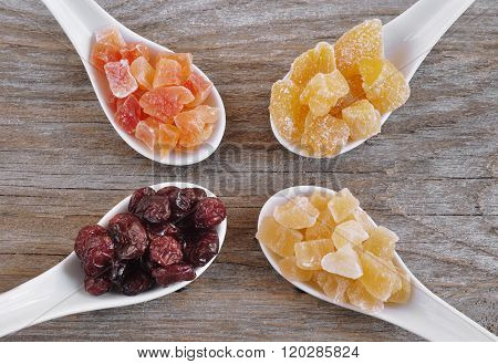 Dried ginger. Dried mango. Dried pineapple. Dried cranberries. Dried fruits