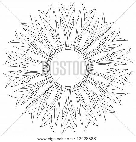 Black symmetric mandala like a adult coloring page