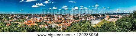 Panorama of Cityscape with Old Tower Of Gediminas or Gedimino In