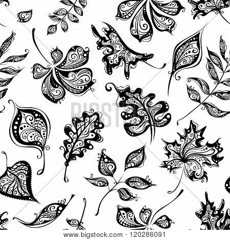 Seamless Pattern Of Vintage Leaves.