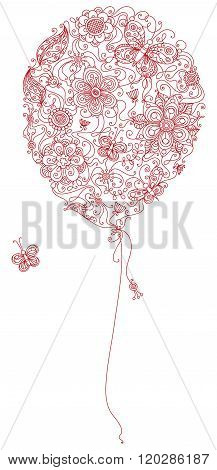 Red Floral Balloon.