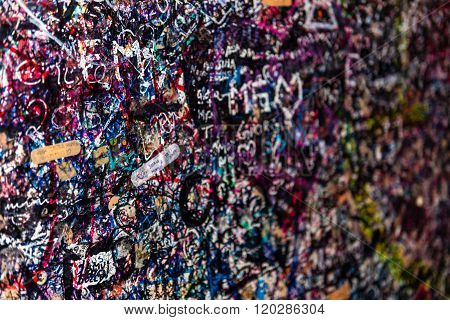 ITALY, VERONA - JUNE 17: The wall full of messages from lovers in Juliet house, Verona, Italy on June 17, 2015