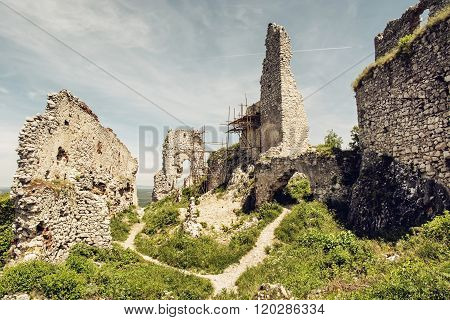 Plavecky Castle In Slovak Republic, Ruins With Scaffolding, Travel Destination