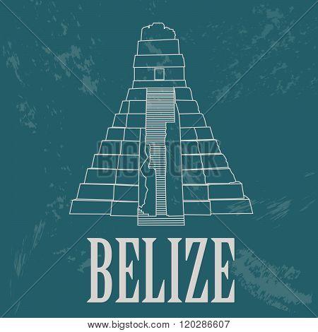 Belize. Pyramids Maya ruins as a national symbol. Vector illustration