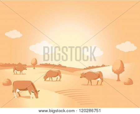 Landscape With Gold Meadow And Cows. Beautiful Valley. Background For Label Sticker Print Packing Web. Vector Image. Gold Meadow Milk. Gold Meadow Farms. Meadow Gold Milk Logo.
