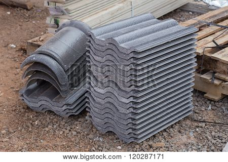 Concrete Roof Tile (gray Color) At Construction Site