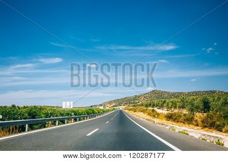 Beautiful asphalt freeway, motorway, highway in Andalusia, Spain