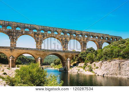 Ancient old Roman aqueduct of Pont du Gard, Nimes, France
