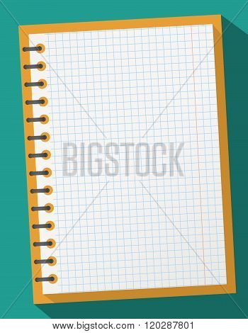Open squared realistic notepad notebook with spiral and long shadow on gray background