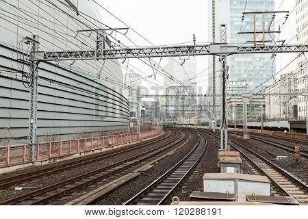 Railroad track in city