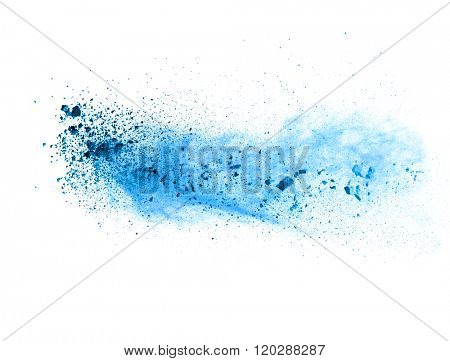Explosion of blue powder on white background