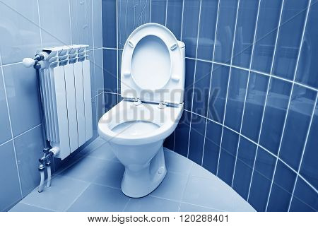 Washroom in purple color.