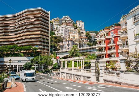 Movement of vehicles on street city in Monaco, Monte Carlo