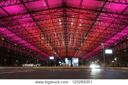 A nice lighted busstation at Schiphol-North, made of an old hangar.