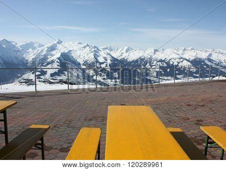 Mountain Open Air Restaurant. Zell Am See Skiing Resort, Alps.
