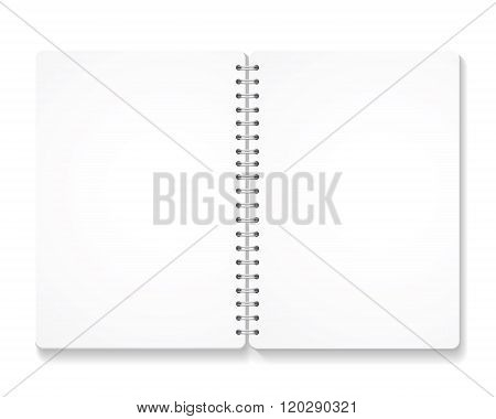 blank realistic spiral notebook with opened pages.