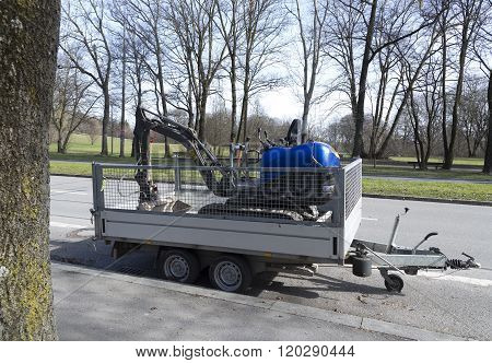 Trailer And Digger