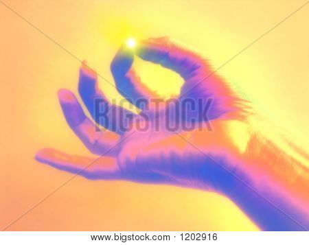 Mãos de meditação - conceito de iluminação