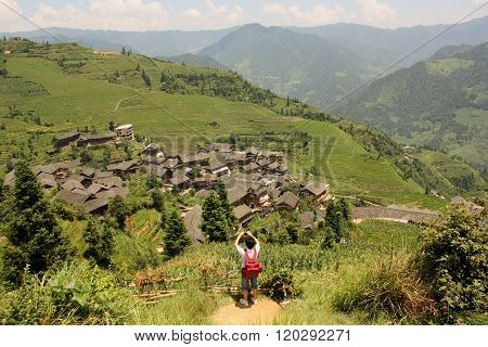 Tourist in China, Rice Paddy Terraces, Pinjan