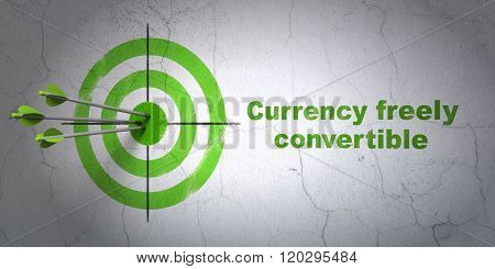 Currency concept: target and Currency freely Convertible on wall background
