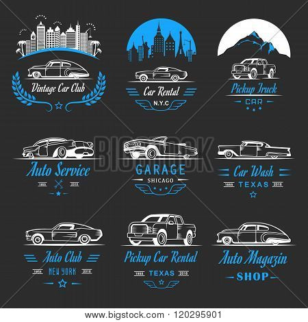 Vector set of vintage car symbols and sign. Car service and car sale retro labels logos and badges. Collection of auto design elements frames ribbons and emblems