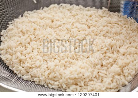 Rice In A Sieve