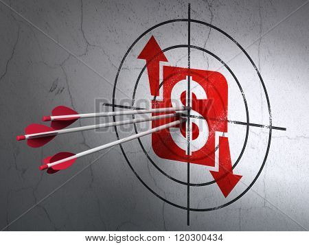 Finance concept: arrows in Finance target on wall background