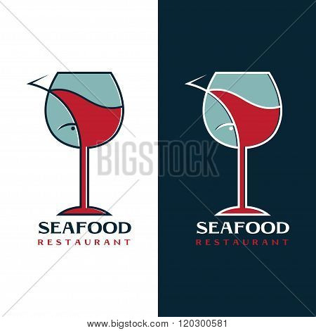 Seafood Restaurant Vector Design Template With Wine Glass And Fish