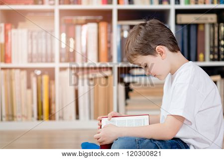 Child With Book In The Library