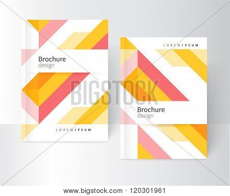 Brochure, leaflet, flyer, cover template. Abstract background yellow and pink diagonal lines. stock-vector EPS 10