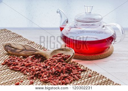 Dried goji berries tea