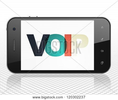 Web design concept: Smartphone with VOIP on  display
