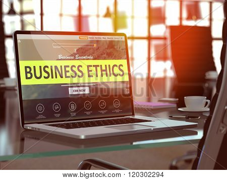 Business Ethics Concept on Laptop Screen.