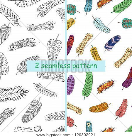 Seamless two patterns of feathers