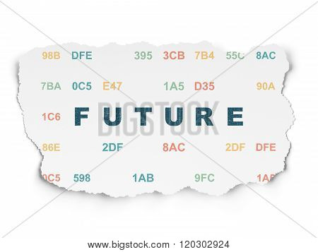 Time concept: Future on Torn Paper background